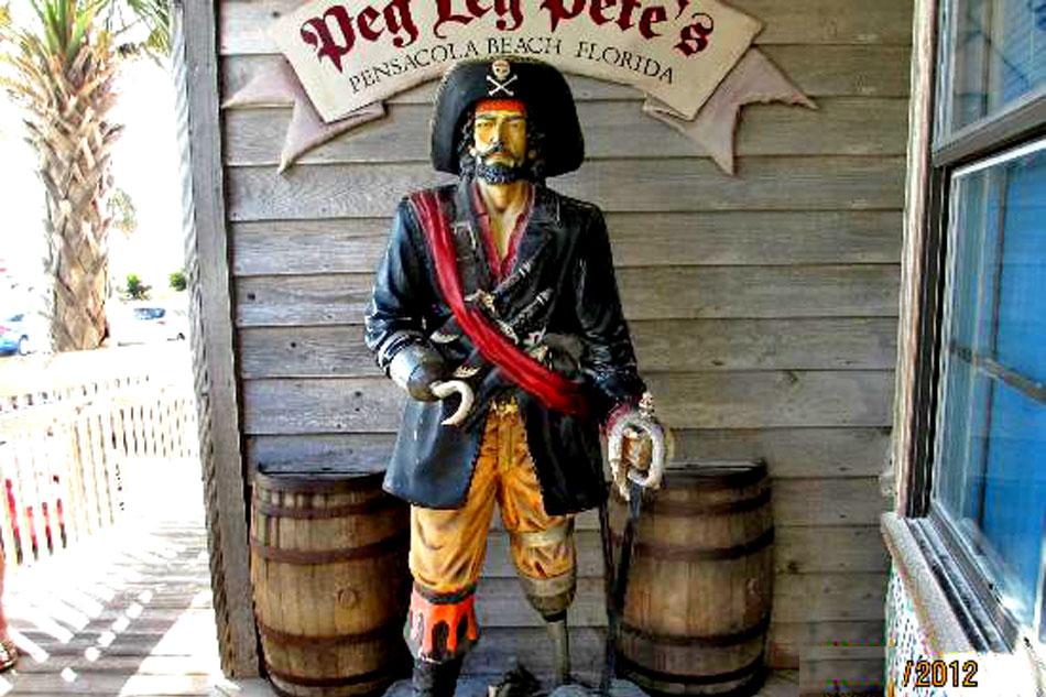 pirate statue at Peg Leg Pete's bar