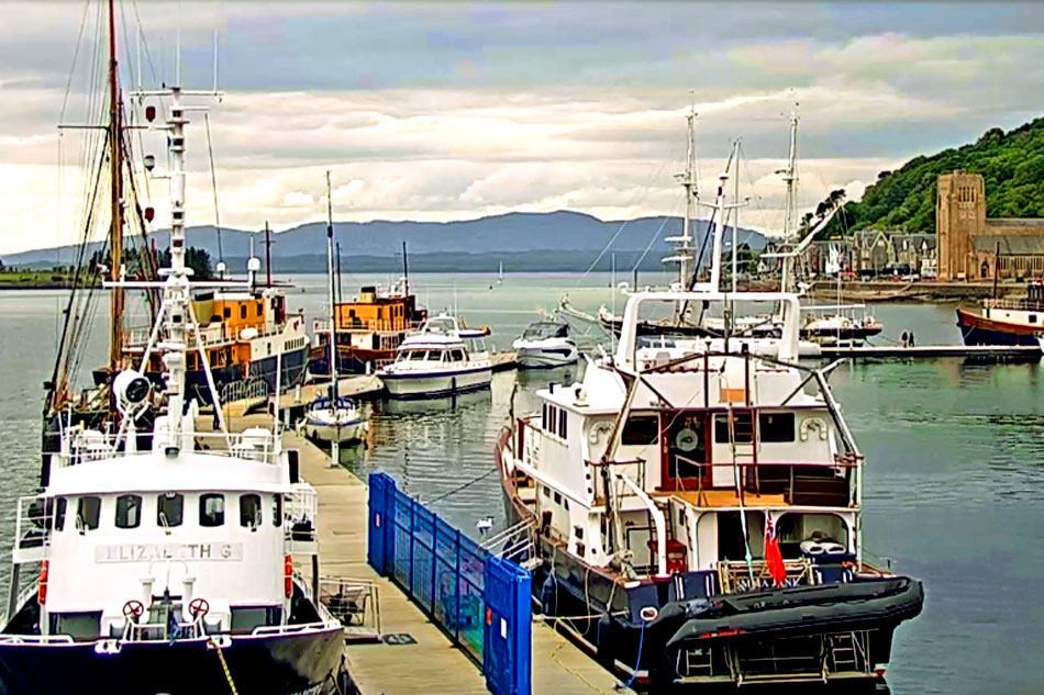 view of oban harbour in scotland