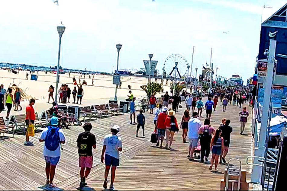 people walking in Ocean city in maryland